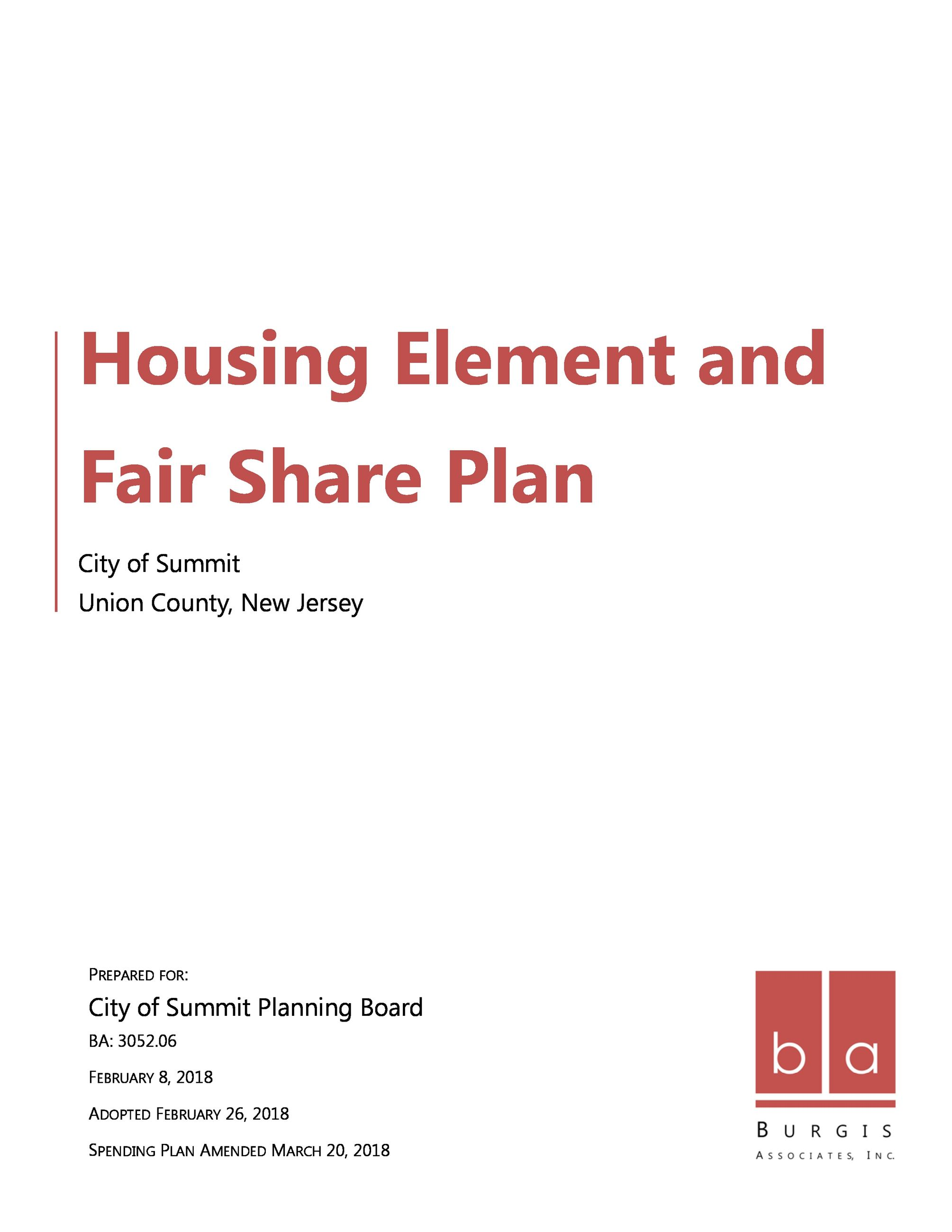 Summit Housing Element & Spending Plan